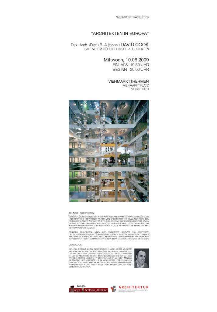 DAVID COOK  BEHNISCH ARCHITEKTEN WERKVORTRAG